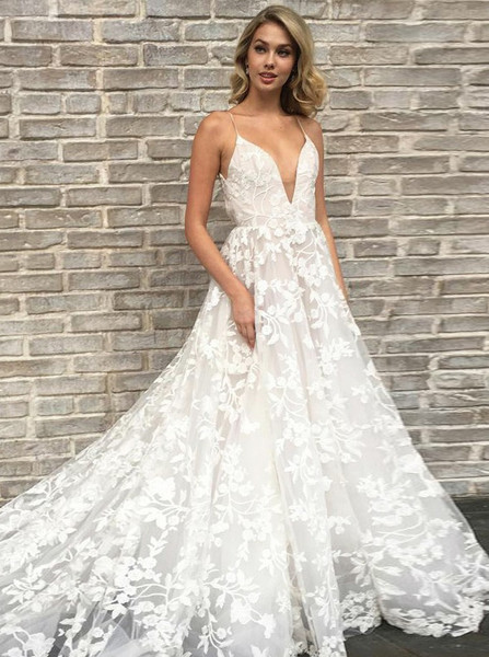 Wedding Dress With Pockets.Lace A Line Spahetti Straps Wedding Dress With Pockets