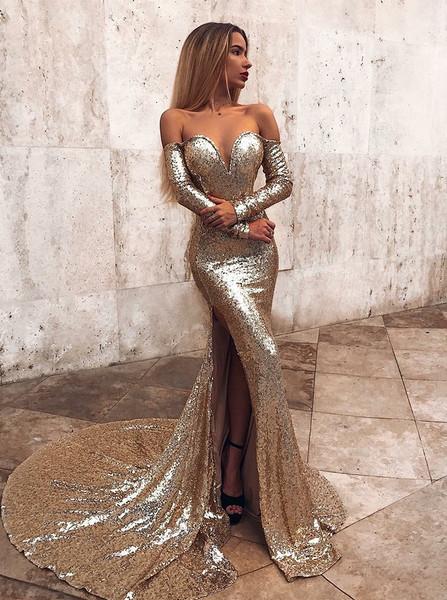 0bde4979f05 Sparkle Long Sleeves Gold Mermaid Off Shoulder Prom Evening Dress