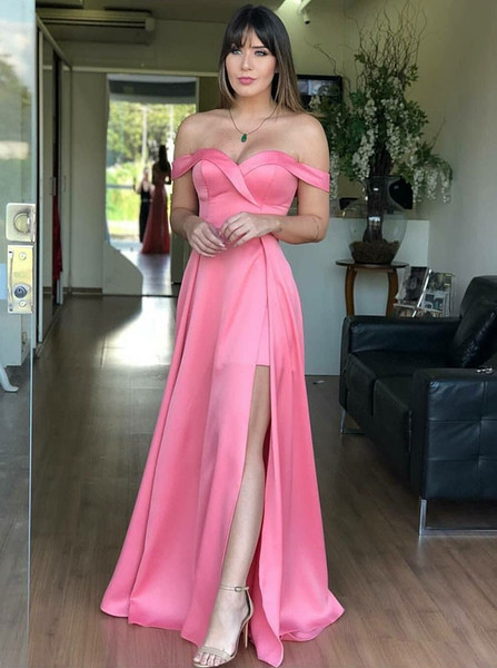 315aefbb0b5e Pink Satin A-Line Off-the-Shoulder Prom Dress with Split