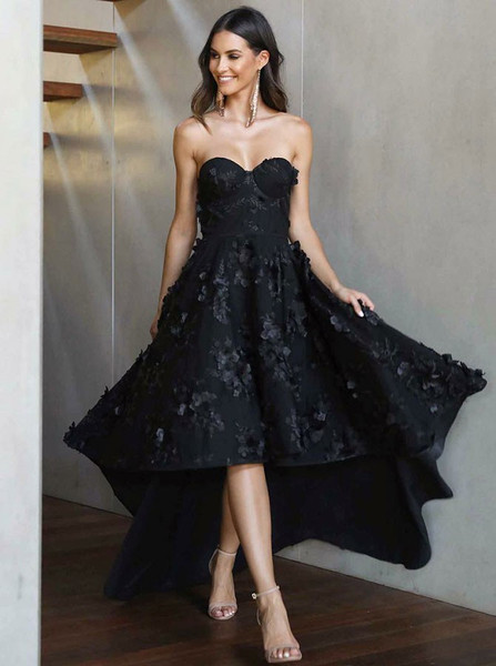 d197174681ff0 Appliques Black Satin Sweetheart High Low Prom Evening Dress