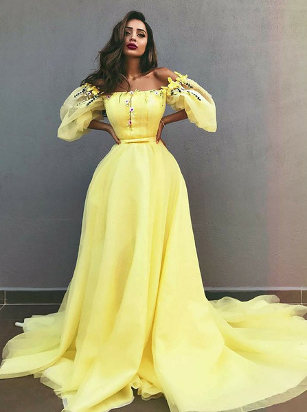 8a18ea269864 Appliques A-Line Off-the-Shoulder Yellow Tulle Prom Dress