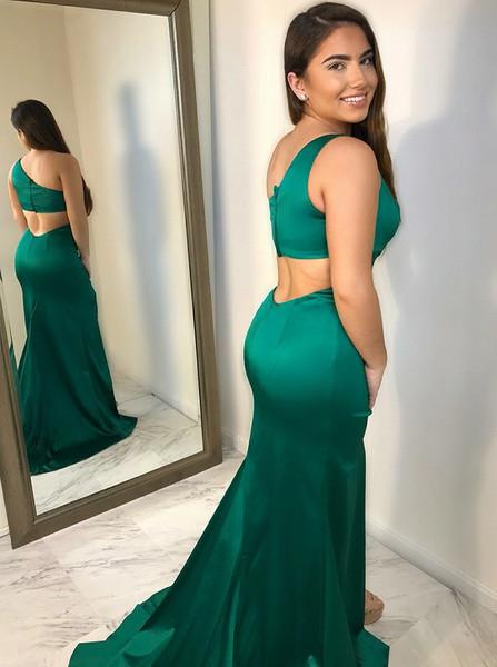 Green One Shoulder Prom Dress