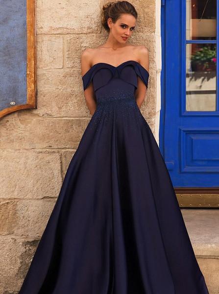 Blue Satin Prom Dress