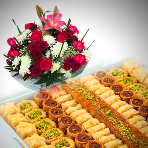 Oriental sweets and Flowers Bouquet Gift