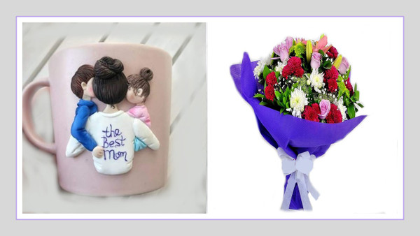 Mother's Day Mug & Flowers Bouquet