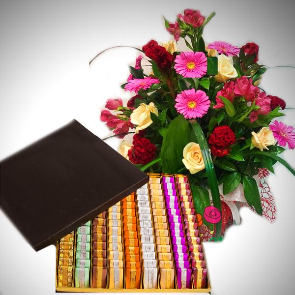 Chocolate Box & Flowers  Bouquet