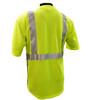 Hi-Vis Class 2 Reflective Safety Shirt - Safety Lime Green / Black Bottom Back