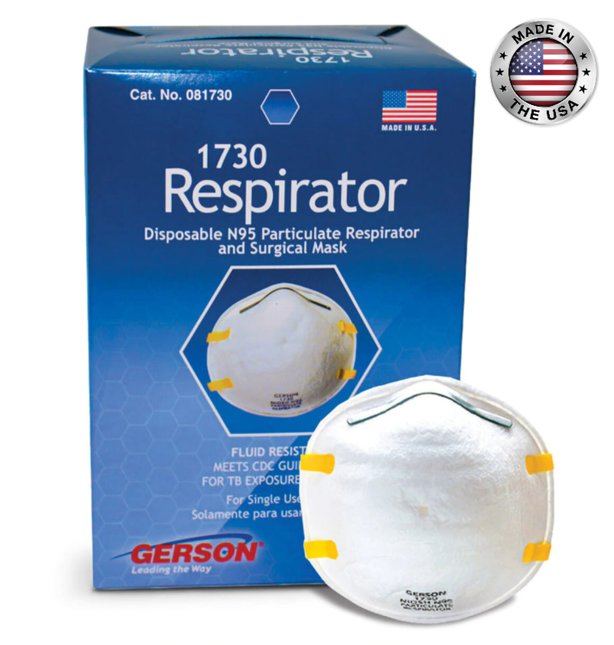 (Made in USA) Gerson 1730 N95 Particulate Respirator Mask( FDA cleared)- 20/Box