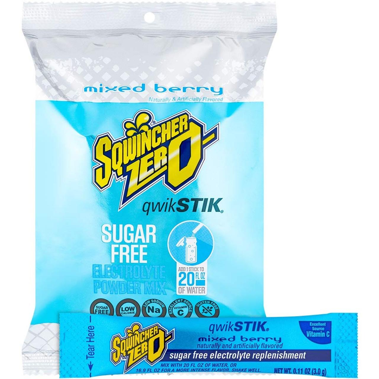 Sqwincher Zero Qwik Stik Sugar Free, Mixed Berry, 16-20 0z (Pack of 50)