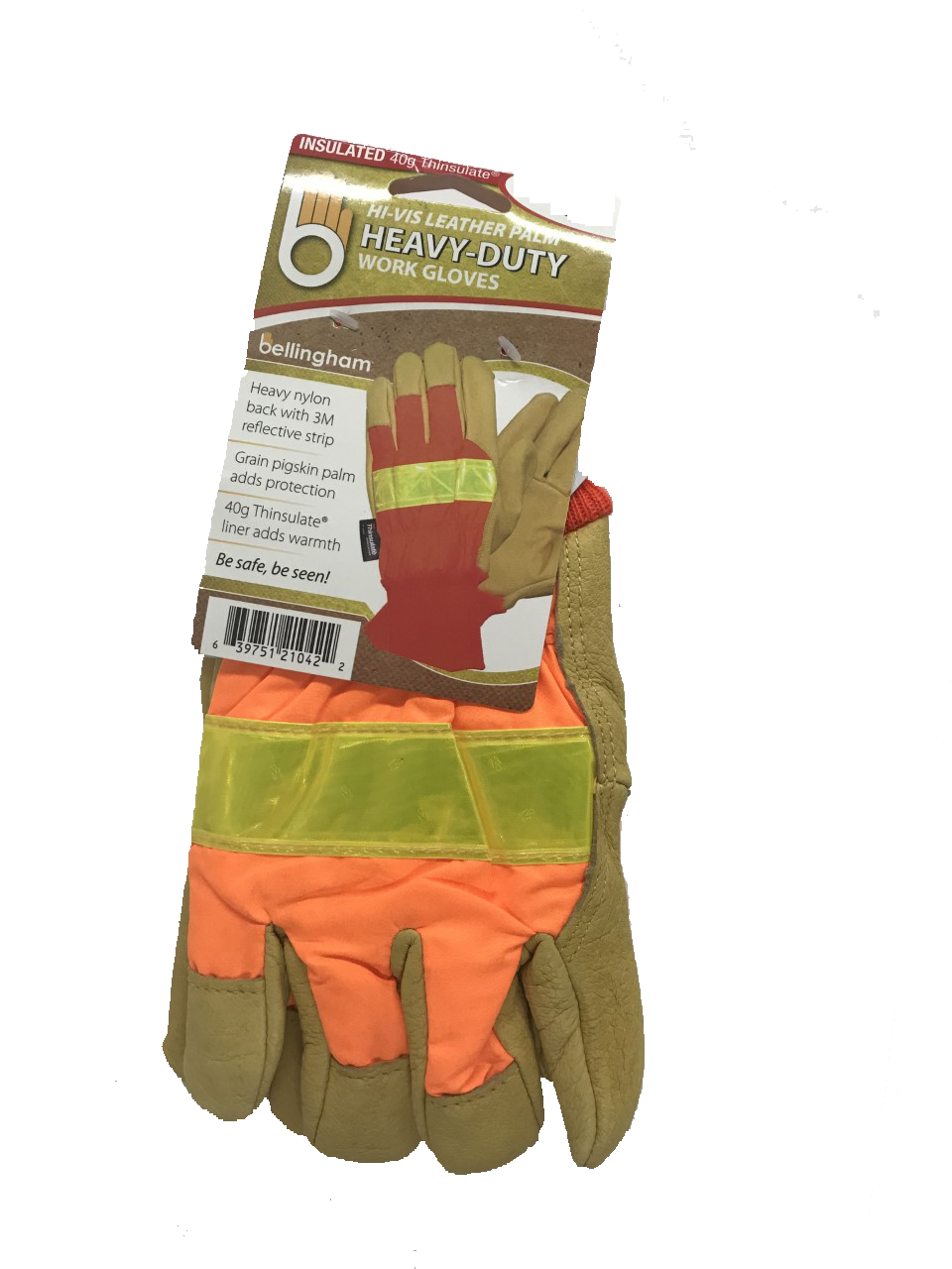 THINSULATE LINED, HEAVY DUTY HI-VIS ORANGE GLOVE WITH REFLECTIVE KNUCKLE