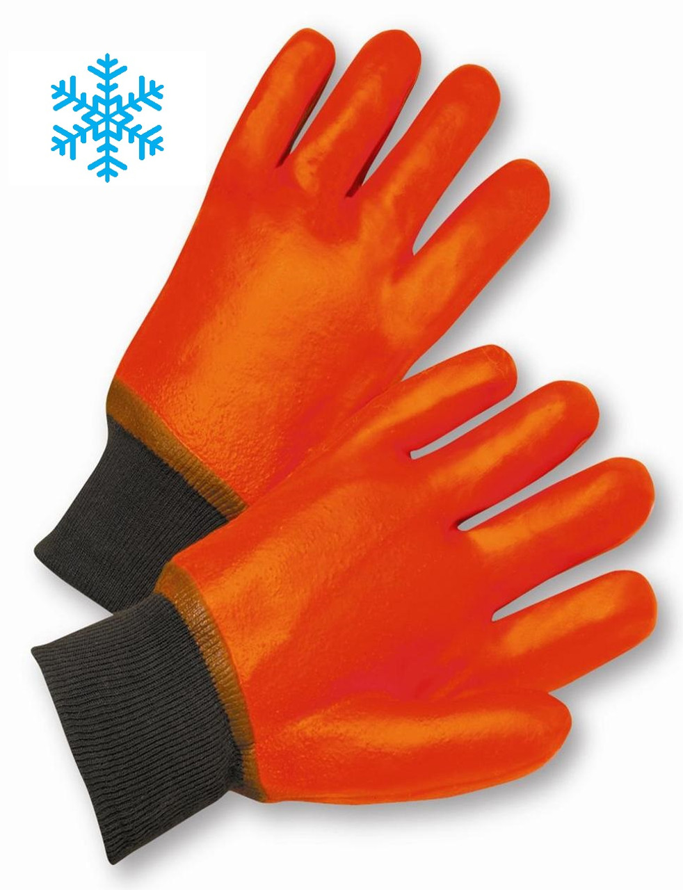 Safety Orange PVC Dipped Knitwrist Gloves - Insulated Gloves   ## 235 ##
