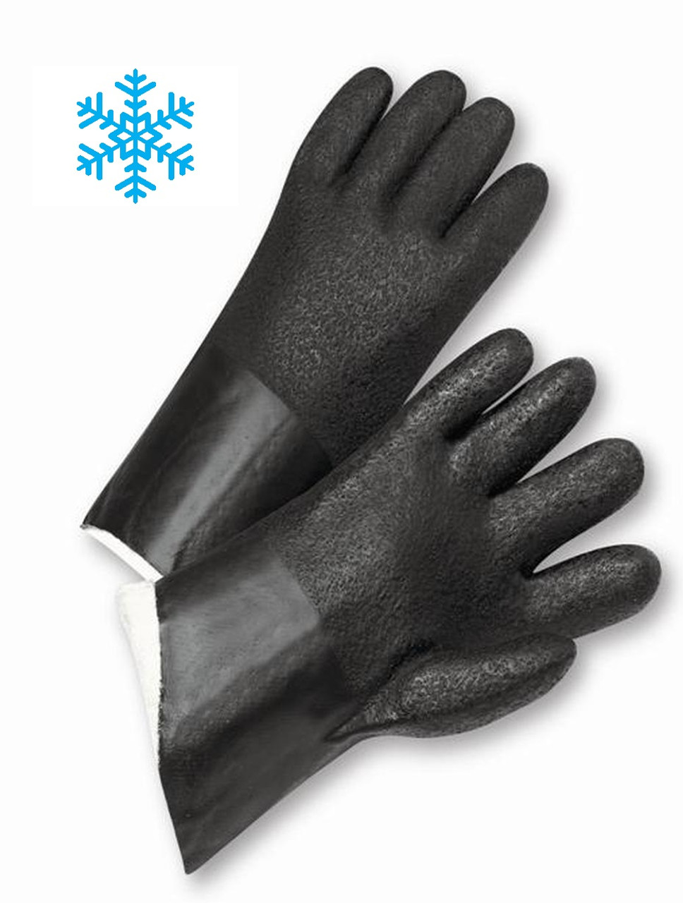 "12"" / 14"" Black Insulated Fully Coated PVC Gloves - Insulated Gloves  ## 260 ##"