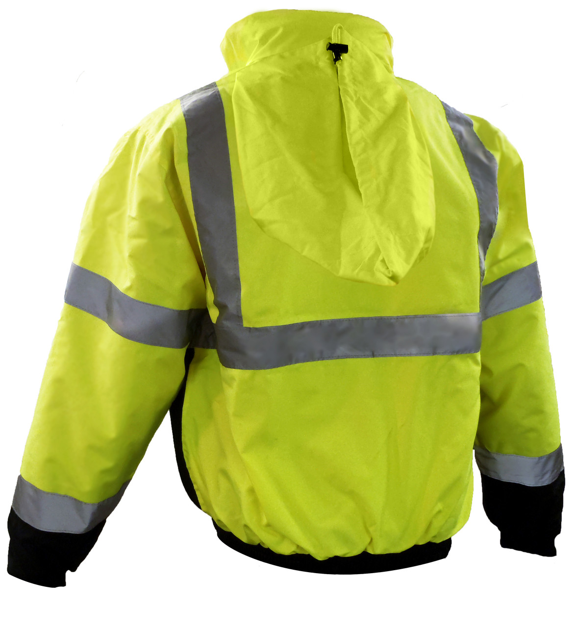 Class 3 Insulated Bombers - Hi-Vis Yellow Back, Showing Hood