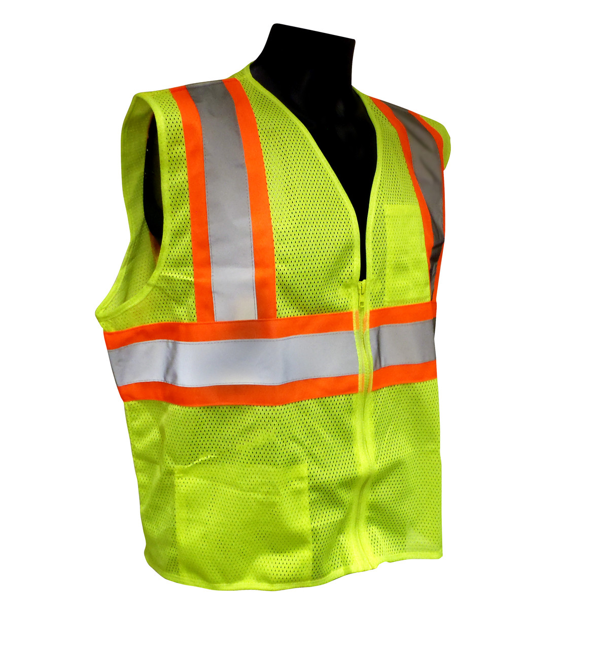 Radians SV22-2ZGM Polyester Mesh Economy Class 2 High Visibility Zipper Closure Vest with Two-Tone Trim
