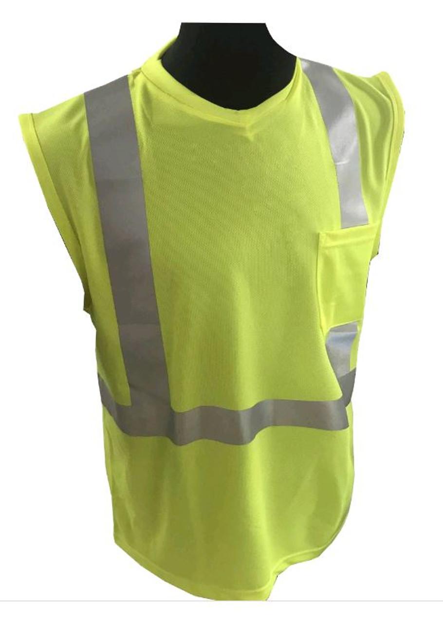 Sleeveless - Forester SSJ9051 Hi-Vis Knit, Class 2 Safety Cut off T-shirt - FRONT