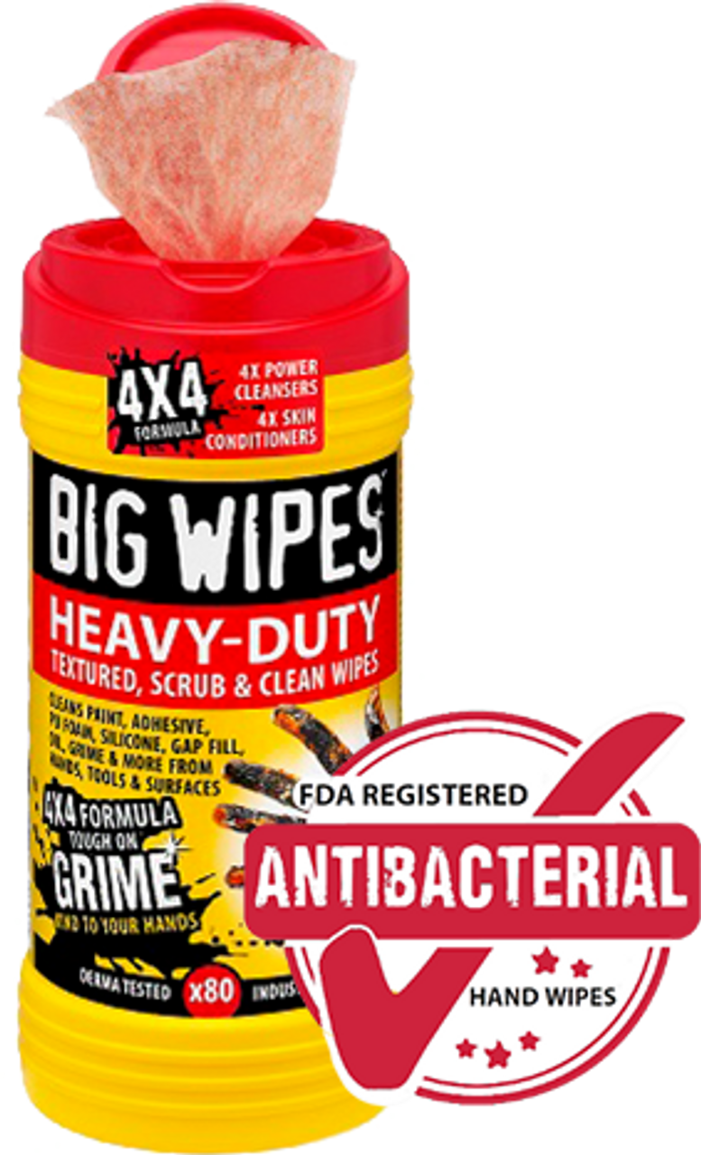 """Antibacterial Big Wipes 60020046""""Red Top"""" Heavy Duty Industrial, Textured Scrubbing Wipes, (80 WIPES PER TUB)"""