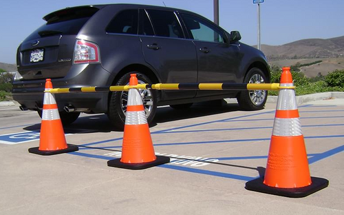 Cone Bar, Retractable, Yellow and Black, Reflective, for Road Signs Or Utility Works use, 55'' - 89""