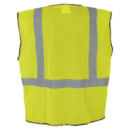GLOBAL GLOVE, CLASS 2- GLO-020 High-Visibility Yellow Safety Vest with Camouflage Bottom - BACK