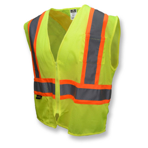 Radians SV22X-2ZGM Type R Class 2 Mesh Two-Tone X-Back Safety Vest - Yellow/Lime - FRONT