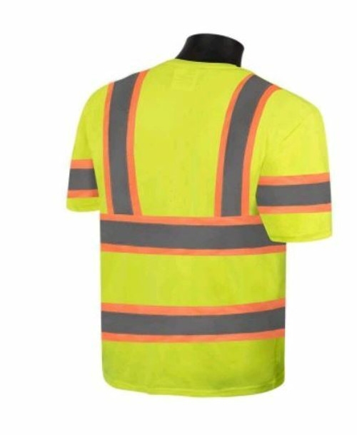 Liberty  C16614G  Polyester Lightweight Moisture Wicking Fabric Class 3 Shirt with 2' Wide 2 Tone Silver Reflective Stripes, Fluorescent Lime Green