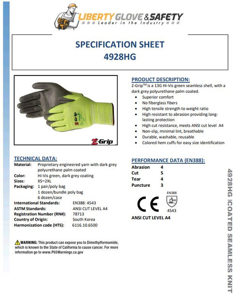 LIBERTY GLOVE 4928HG  Z-GRIP ANSI A4 , Cut Resistant Polyurethane Palm Coated Gloves
