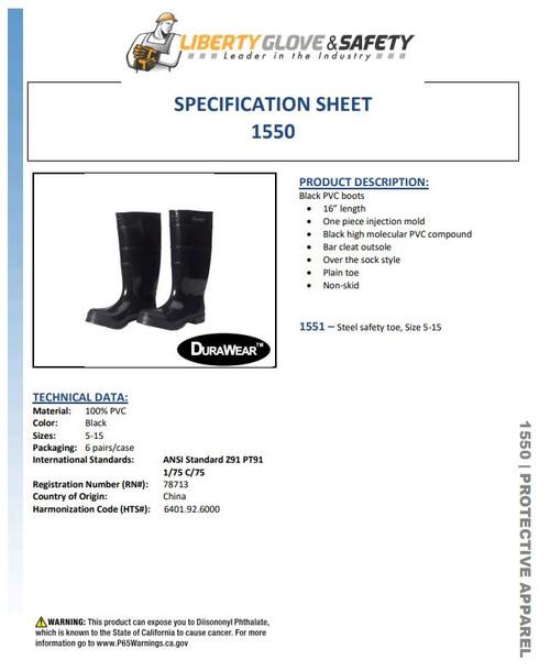 "Liberty 1550 Durawear® 16"" Premium Plain Toe PVC Boots"
