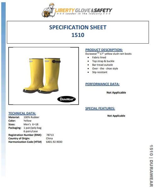 "Liberty DuraWear  Yellow 17""  Slush Boots / Overboots ##1510 ##"