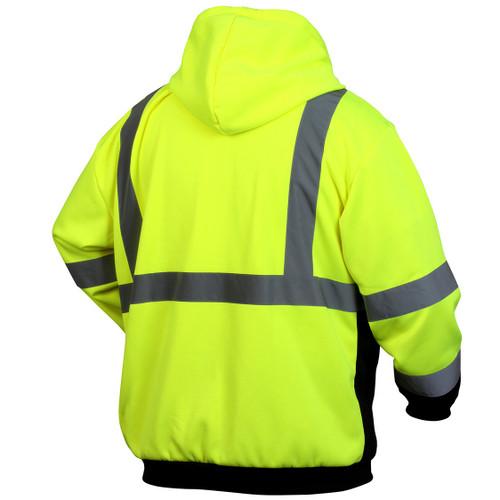 Pyramex RSZH3210 Type R Class 3 Black Bottom Full-Zip Safety Sweatshirt - Yellow/Lime