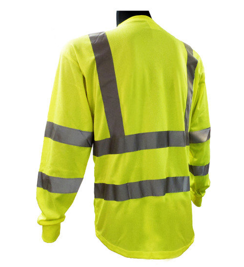 Hi-Vis Breathable Knit Class 3 Lime Green Long Sleeve T-Shirt Back