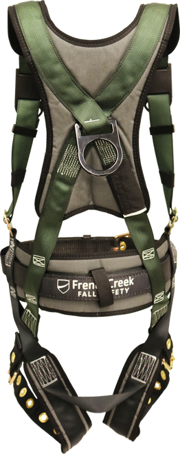 22850 Full Body Harness, Single Back Dorsal D-Ring, Waist Pad W/Removable Tool Belt, Shoulder/Back Pad, Leg Pads, Tongue Buckle Legs By FrenchCreek Production Green