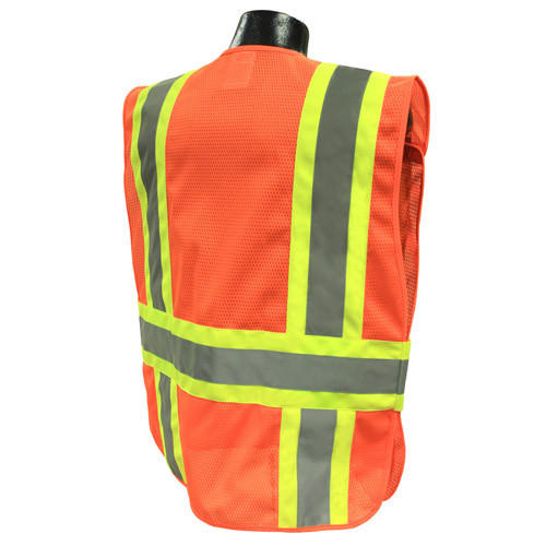Hi-Vis Orange Two-tone Class 2, Five-Point Breakaway Safety Vests - Vest 21O