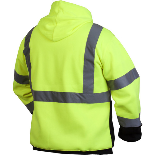 Pyramex RSSH3210 Type R Class 3 Black Bottom Pullover Safety Sweatshirt - Yellow/Lime-BACK