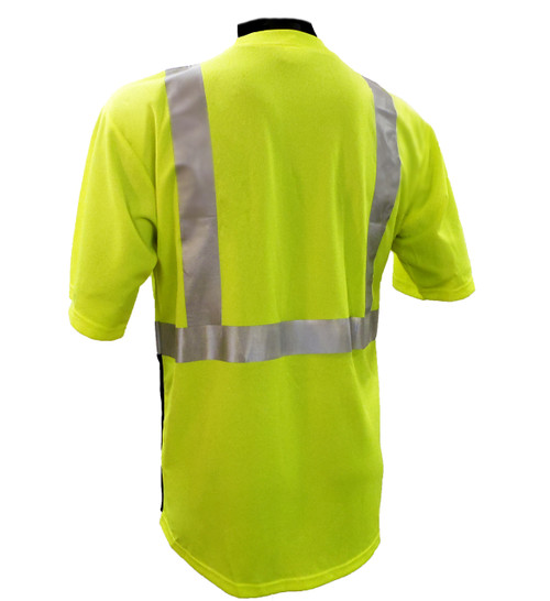 Hi-Vis Class 2 Reflective Safety Shirt - Safety Lime Green / Black Bottom Back - BACK