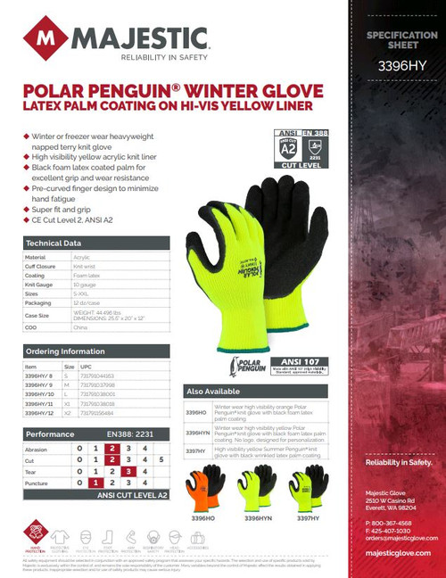 Majestic Glove Polar Penguin 3396HY  Foam Latex Palm Coated, Black/Hi-Vis