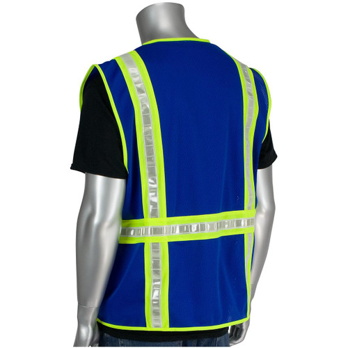 PIP 300-1000-BL Non-ANSI Two-Tone Surveyor Blue Safety Vest - BACK