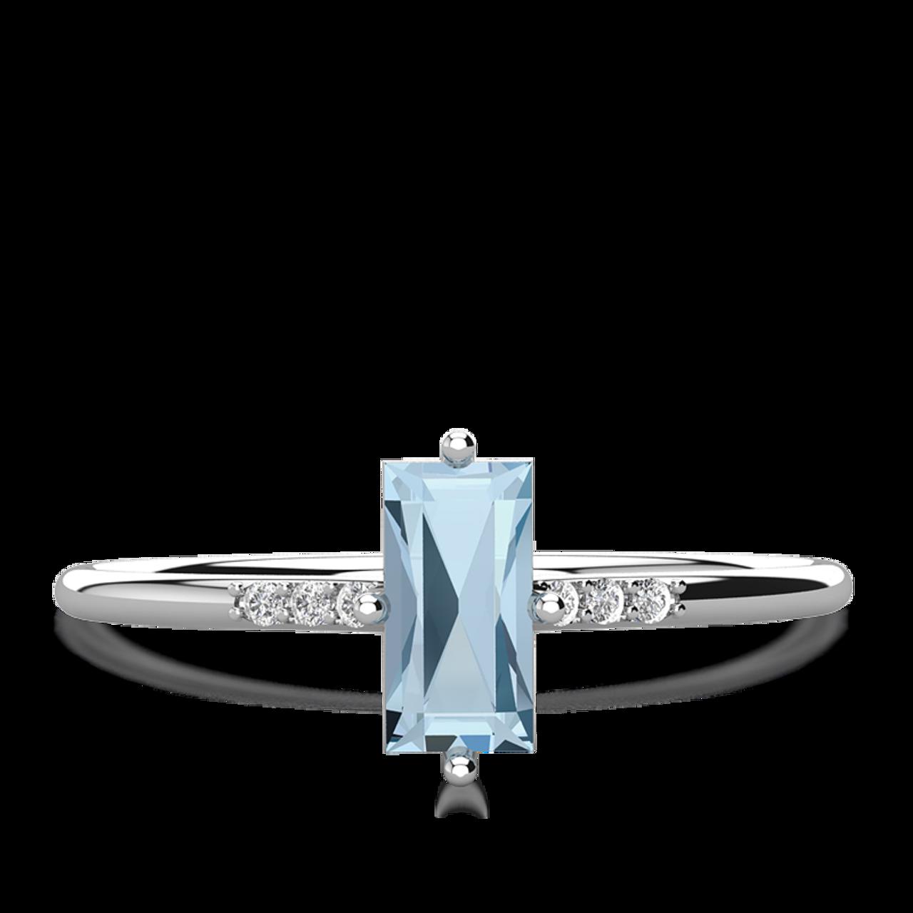 93210d0f5e61d Cara Aquamarine Stacking Ring - White Gold