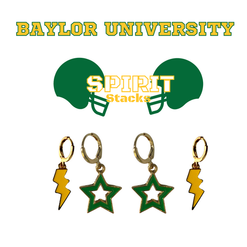 Baylor University Spirit Stack Set with Golden Yellow Mini Enamel Bolts with Green Statement Open Starboys