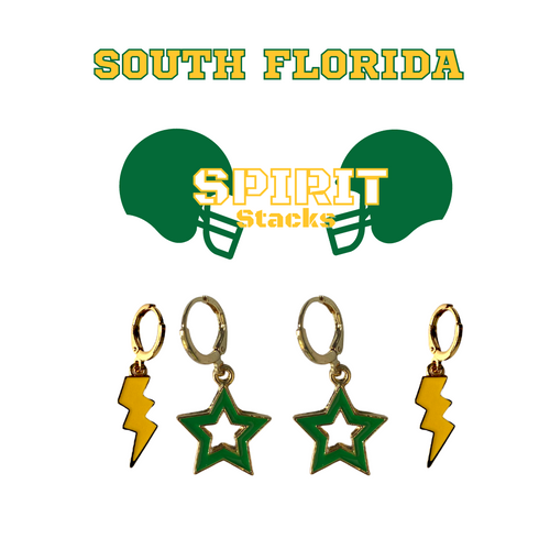 University of South Florida Spirit Stack Set with Golden Yellow Mini Enamel Bolts with Green Statement Open Starboys