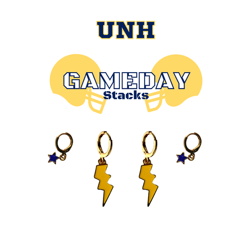 University of New Haven Game Day Set with Golden Yellow Mini Enamel Bolts with Navy Baby Stars on Stand