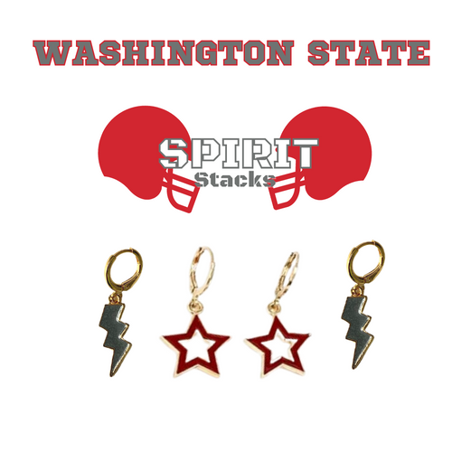 Washington State University Spirit Stack Set with Grey Mini Enamel Bolts with Red Statement Open Starboys