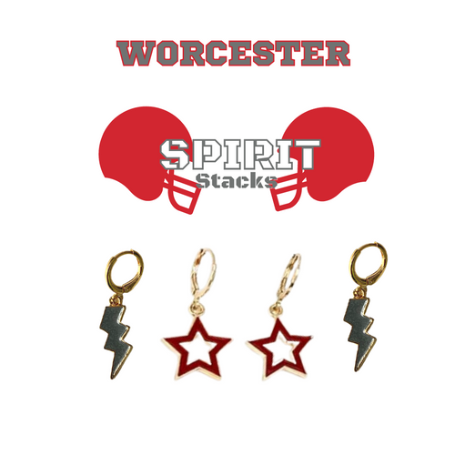 Worcester Polytechnic Institute Spirit Stack Set with Grey Mini Enamel Bolts with Red Statement Open Starboys