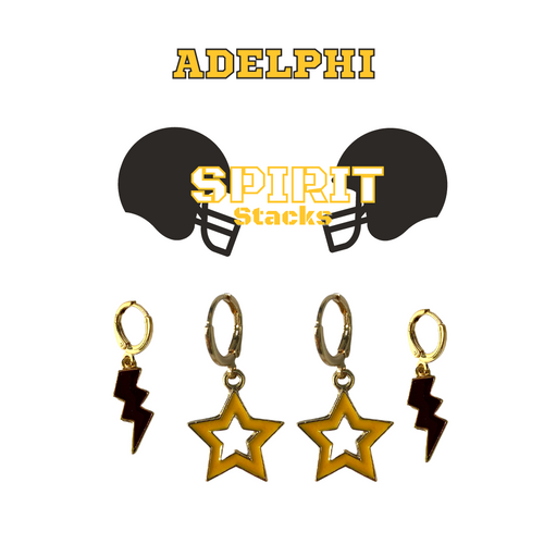 Adelphi University Spirit Stack Set with Black Mini Enamel Bolts with Golden Yellow Statement Open Starboys