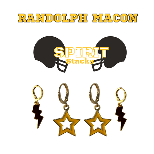 Randolph–Macon College Spirit Stack Set with Black Mini Enamel Bolts with Golden Yellow Statement Open Starboys