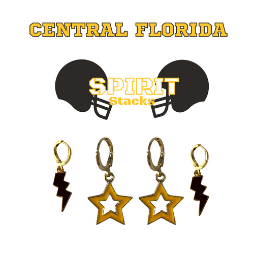 University of Central Florida Spirit Stack Set with Black Mini Enamel Bolts with Golden Yellow Statement Open Starboys