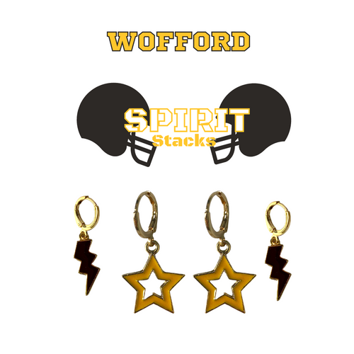 Wofford College Spirit Stack Set with Black Mini Enamel Bolts with Golden Yellow Statement Open Starboys