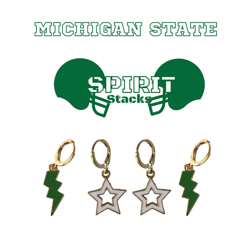 Michigan State University Spirit Stack Set with Green Mini Enamel Bolts with White Statement Open Starboys