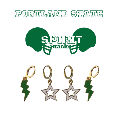 Portland State University Spirit Stack Set with Green Mini Enamel Bolts with White Statement Open Starboys