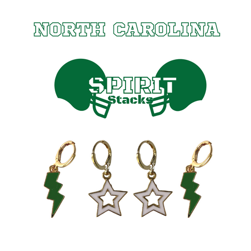 University of North Carolina at Charlotte Spirit Stack Set with Green Mini Enamel Bolts with White Statement Open Starboys