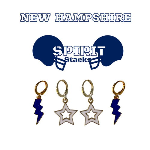University of New Hampshire Spirit Stack Set with Navy Mini Enamel Bolts with White Statement Open Starboys