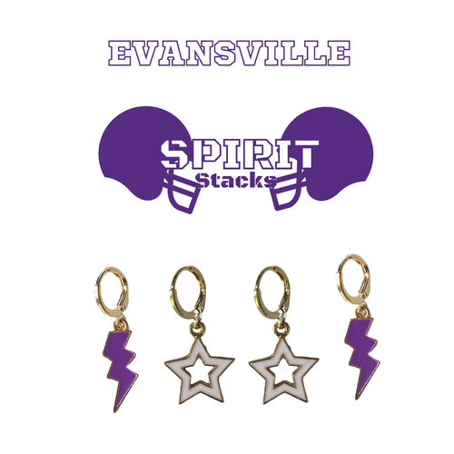 University of Evansville Spirit Stack Set with Purple Mini Enamel Bolts with White Statement Open Starboys